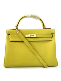 Hermes togo leather kelly 32 bag K032 lemon yellow
