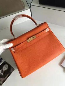 Hermes togo leather kelly 32 bag K032 orange