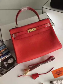 Hermes togo leather kelly 32 bag K032 red