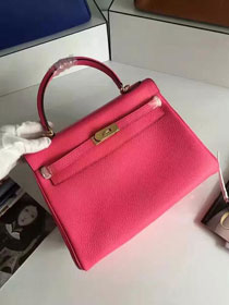 Hermes togo leather kelly 32 bag K032 rose red