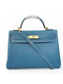 Hermes togo leather kelly 32 bag K032 sky blue