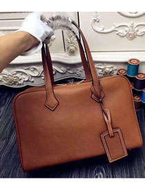 Hermes original clemence leather victoria fourre-tout 35 bag V35 coffee