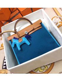 2017 hermes original canvas&calfskin leather her bag H031 coffee&blue