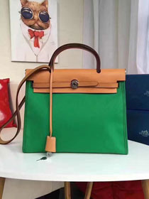 2017 hermes calfskin leather&canvas her bag H31 coffee&green