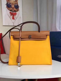 2017 hermes calfskin leather&canvas her bag H31 coffee&yellow
