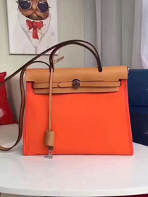 2017 hermes calfskin leather&canvas her bag H31 orange&coffee