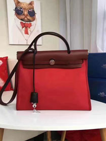 Hermes original canvas&calfskin leather small her bag H031 red&wine