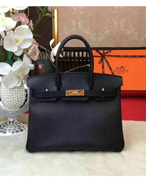 Hermes original epsom leather birkin 25 bag H25 black