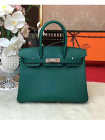 Hermes original epsom leather birkin 25 bag H25 blackish green