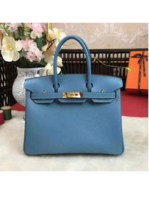 Hermes original epsom leather birkin 25 bag H25 blue