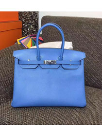 Hermes original epsom leather birkin 25 bag H25 deep skyblue