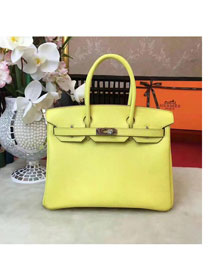 Hermes original epsom leather birkin 25 bag H25 lemon yellow