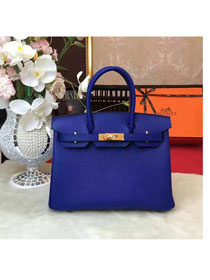 Hermes original epsom leather birkin 25 bag H25 royal blue