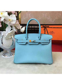 Hermes original epsom leather birkin 25 bag H25 skyblue