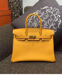 Hermes original epsom leather birkin 25 bag H25 yellow