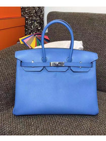 Hermes original epsom leather birkin 30 bag H30 deep skyblue