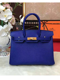 Hermes original epsom leather birkin 30 bag H30 royal blue