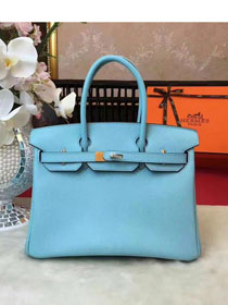 Hermes original epsom leather birkin 30 bag H30 skyblue