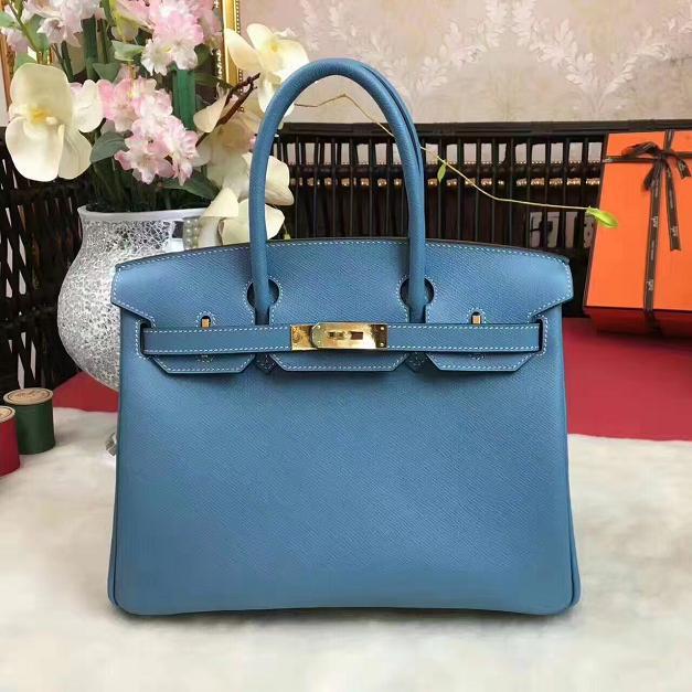 Hermes original epsom leather birkin 35 bag H35 blue 2183056ef3845