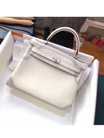 Hermes original togo leather kelly 28 bag K280 white