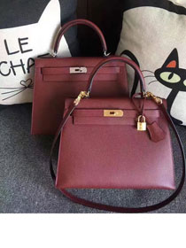 Hermes original epsom leather kelly 28 bag K28-1 wine