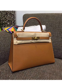 Hermes original epsom leather kelly 28 bag K28-1 coffee