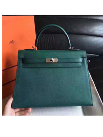 Hermes original epsom leather kelly 28 bag K28-1 olive