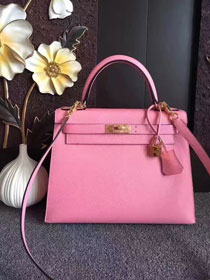 Hermes original epsom leather kelly 28 bag K28-1 pink