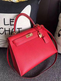 Hermes original epsom leather kelly 28 bag K28-1 red