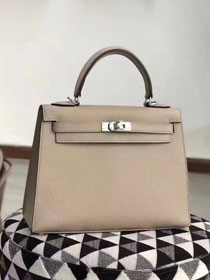Hermes original epsom leather kelly 32 bag K32-1 light gray