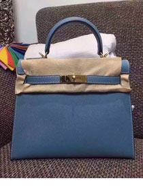 Hermes original epsom leather kelly 32 bag K32-1 blue