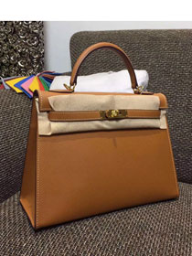 Hermes original epsom leather kelly 32 bag K32-1 coffee