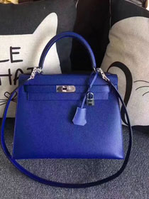Hermes original epsom leather kelly 32 bag K32-1 electric blue