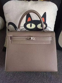 Hermes original epsom leather kelly 32 bag K32-1 gray
