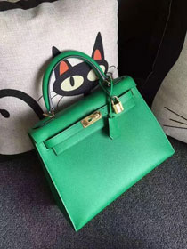 Hermes original epsom leather kelly 32 bag K32-1 green