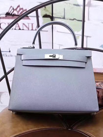Hermes original epsom leather kelly 32 bag K32-1 light blue