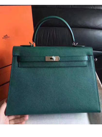 Hermes original epsom leather kelly 32 bag K32-1 olive