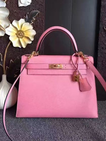 Hermes original epsom leather kelly 32 bag K32-1 pink