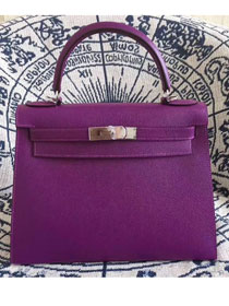 Hermes original epsom leather kelly 32 bag K32-1 purple