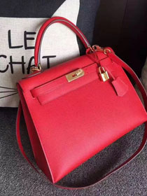 Hermes original epsom leather kelly 32 bag K32-1 red