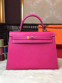Hermes original epsom leather kelly 32 bag K32-1 rose red