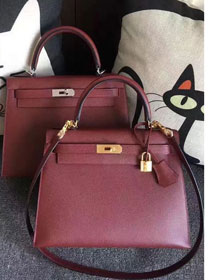 Hermes original epsom leather kelly 32 bag K32-1 wine