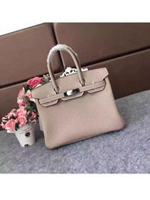 Hermes original togo leather birkin 25 bag H25-1 light grey