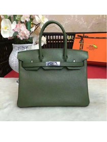 Hermes original togo leather birkin 25 bag H25-1 blackish green