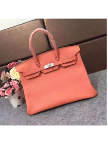Hermes original togo leather birkin 25 bag H25-1 coral