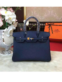 Hermes original togo leather birkin 25 bag H25-1 dark blue