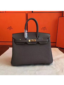 Hermes original togo leather birkin 25 bag H25-1 dark gray