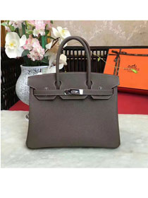 Hermes original togo leather birkin 25 bag H25-1 gray