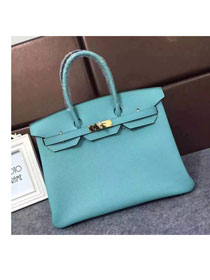 Hermes original togo leather birkin 25 bag H25-1 lake blue