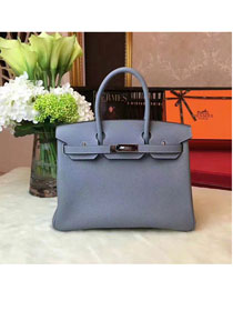 Hermes original togo leather birkin 25 bag H25-1 light blue